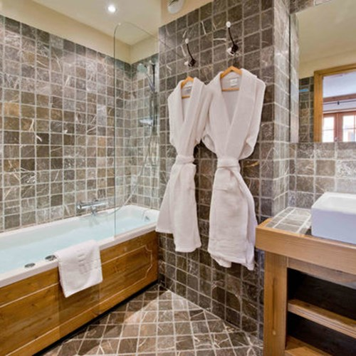 bathroom at Vieille Forge catered ski chalet in Courchevel 1850