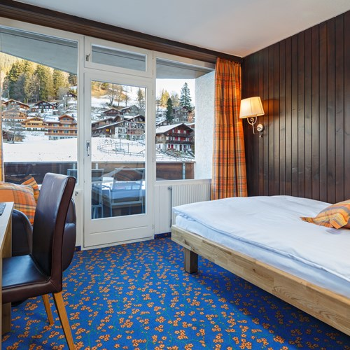 single room at the Hotel Derby in Grindelwald