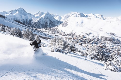 les deux alpes skier with view