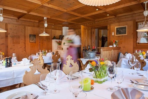 Sonnbichl Stube St Anton Restaurants traditional wood interiors