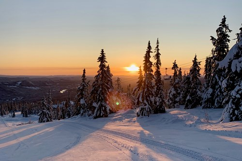 Trysil sunset skiing view