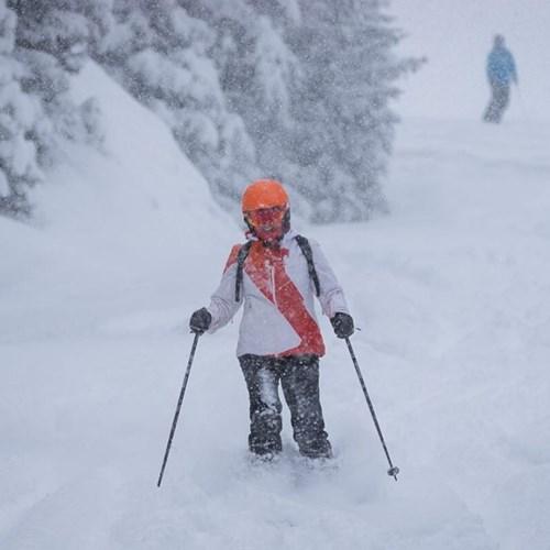skier in meribel surrounded by snow