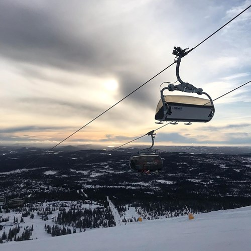 trysil cable car sunset cloudy skies