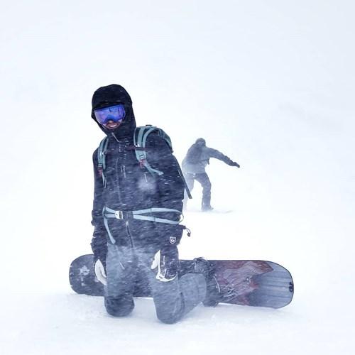 st anton am arlberg snowboarder whiteout