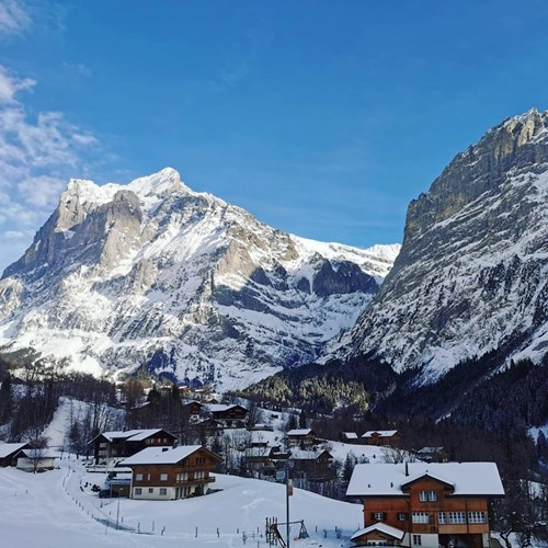 grindelwald view in the sun mountain valley