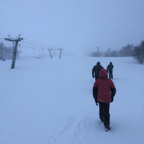 geilo snow view people walking on slopes