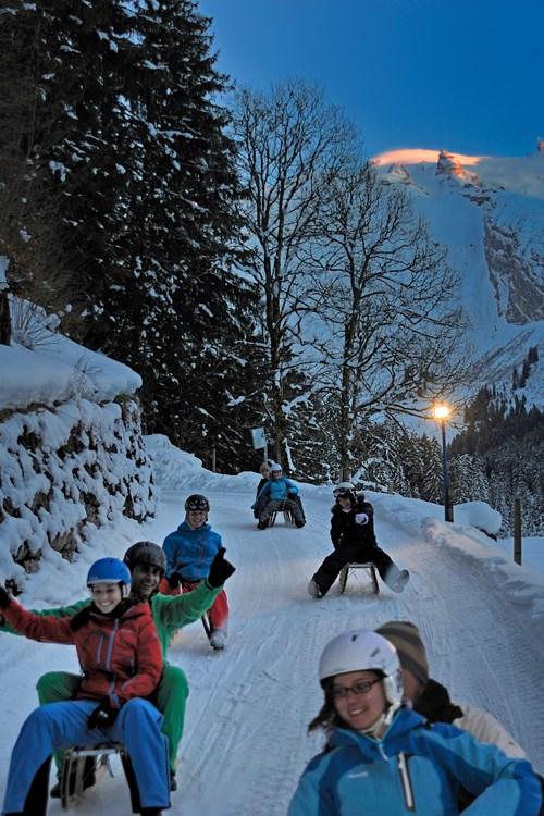 Engelberg-ski-resort-Switzerland-tobogganing at night