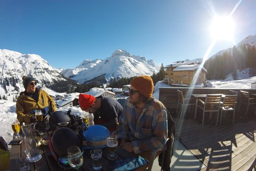 st anton apres ski friends on a table