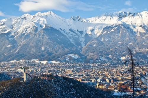 innsbruck in winter town view and mountains