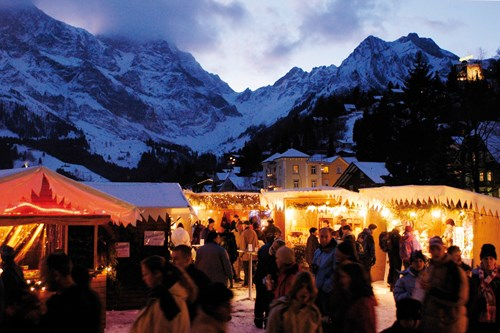 Engelberg night markets and mountain backdrop near Zurich