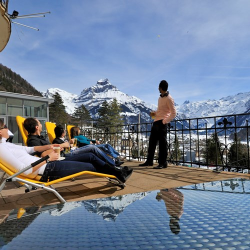 The sun terrace at Hotel Engelberg, Switzerland