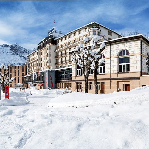 Hotel Terrace in Engelberg, Switzerland - hotel exterior in the snow