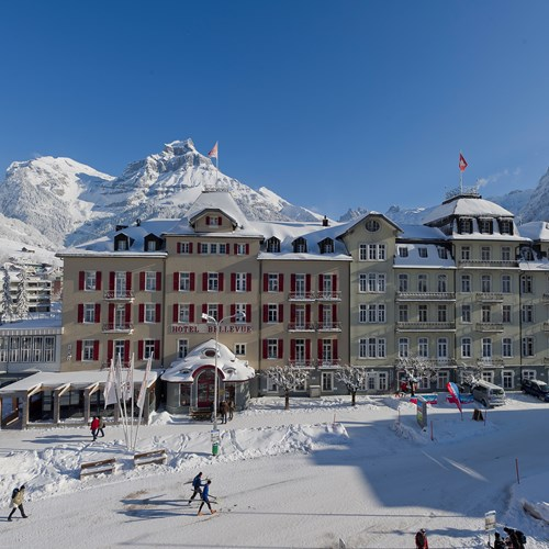 Exterior of Bellevue Engelberg in the snow