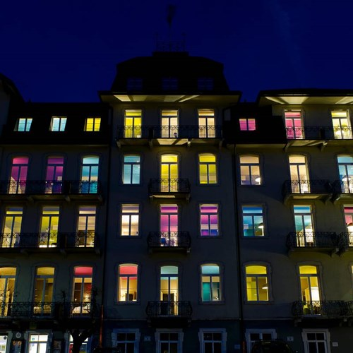 lit up front of the trendy Hotel Bellevue Terminus in central Engelberg