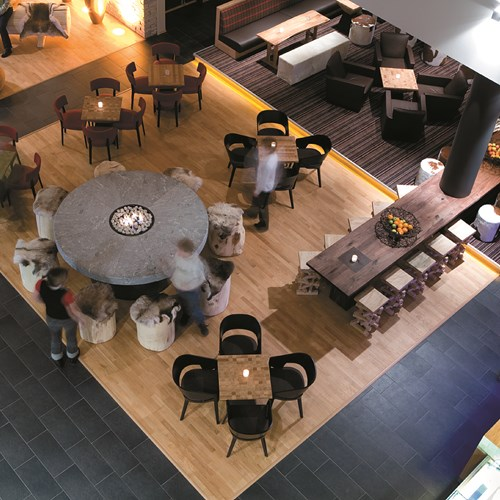 lobby from above at the Radisson Blu Trysil