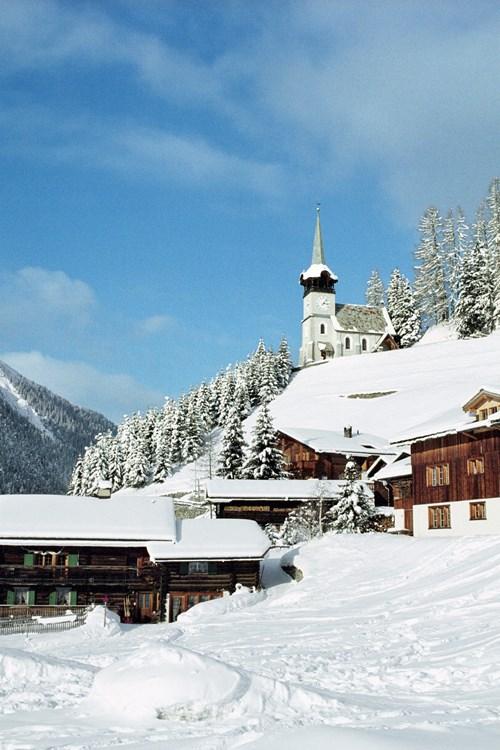 Snow covered Monstein hamlet near Klosters Village, Switzerland