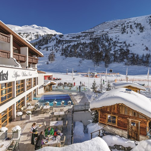 Exterior of Hotel Hochfirst in Obergurgl, Austria. Ski accommodation.