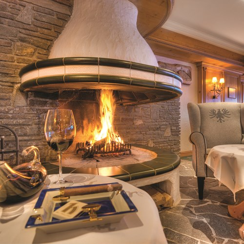 Fireplace at Hotel Hochfirst in Obergurgl, Austria. Ski accommodation