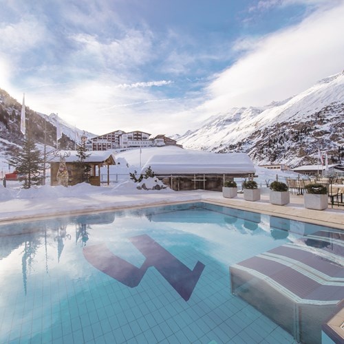 Outdoor pool at Hotel Hochfirst in Obergurgl, Austria. Ski accommodation.