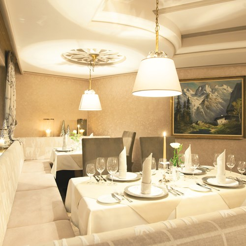 Restaurant at Hotel Hochfirst in Obergurgl, Austria. Ski accommodation.