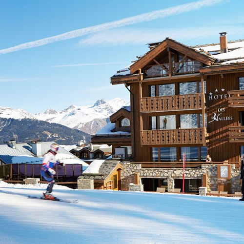 ski in ski out hotel Trois Vallees in Courchevel-skiing past the hotel