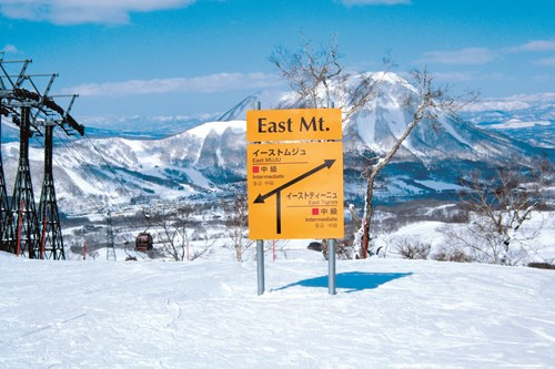 Rusutsu piste sign to East Mountain, Snowboarding in Japan