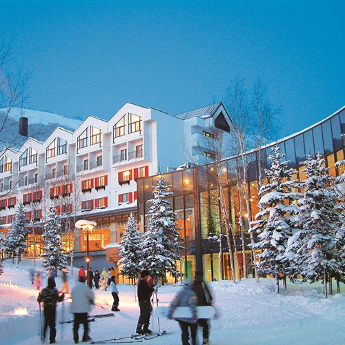 Rusutsu Resort Hotel - Japan skiing - hotel exterior at night