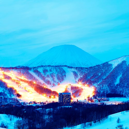 Westin ski hotel, Rusutsu ski resort - Japan - exterior at night