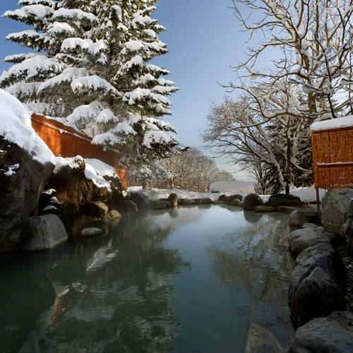 Greenleaf ski hotel - Niseko - Japan - outdoor onsen and snow