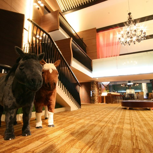 Niseko northern resort-Ski Japan-lobby area with horses