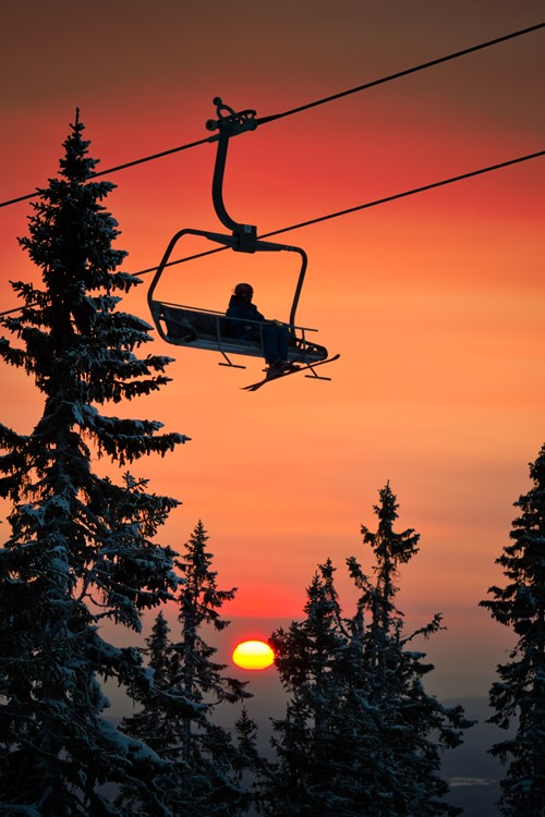 Trysil ski Holiday-Norway-red sunset and chairlift