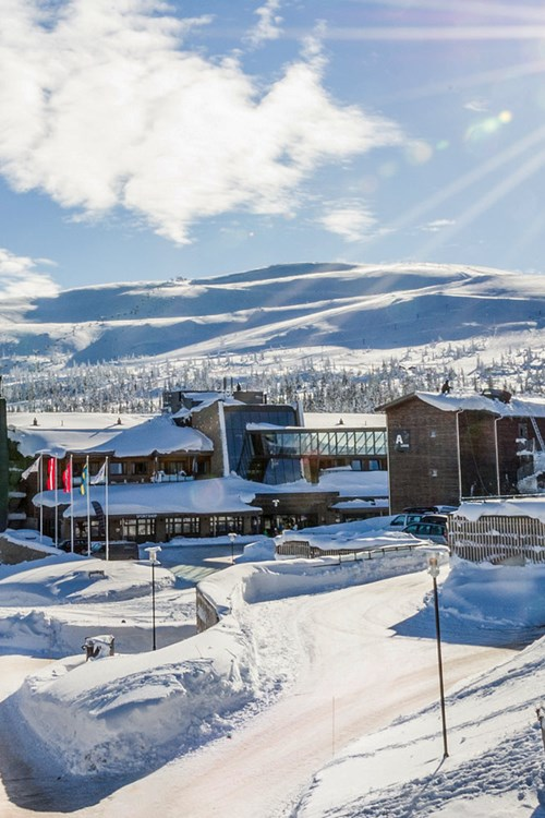 snowy entrance to Radisson Blu Mountain Resort Trysil