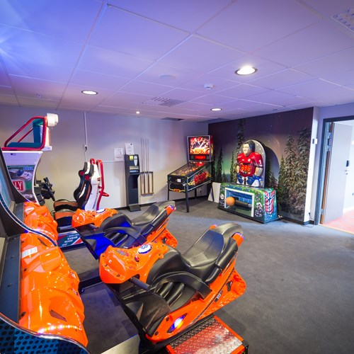 arcade games room at the Radisson Blu Mountain Resort Trysil