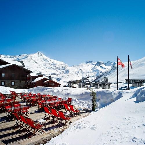 Hotel Village Montana-Tignes-sun terrace with deckchairs