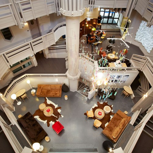 Le-Val-Thorens-Hotel-France-lobby-from-above