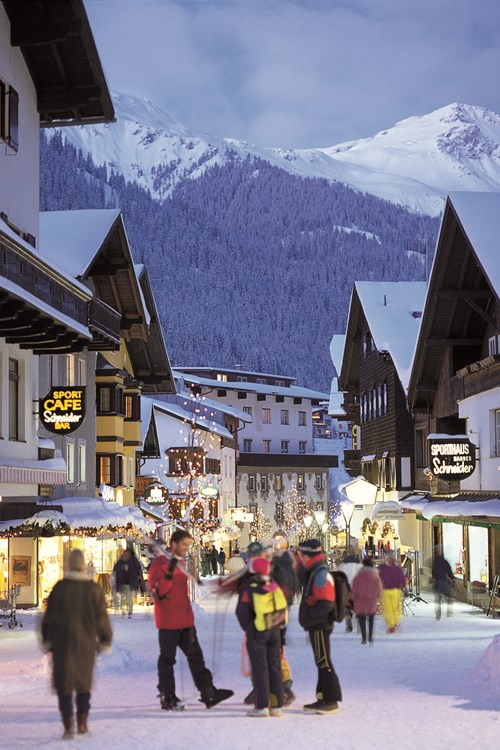 St Anton ski weekends main town street during winter