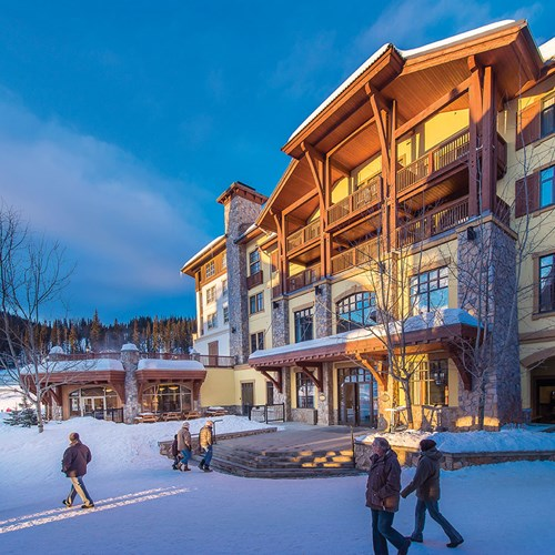Snowy exterior at Sun Peaks Grand ski accommodation in Canada