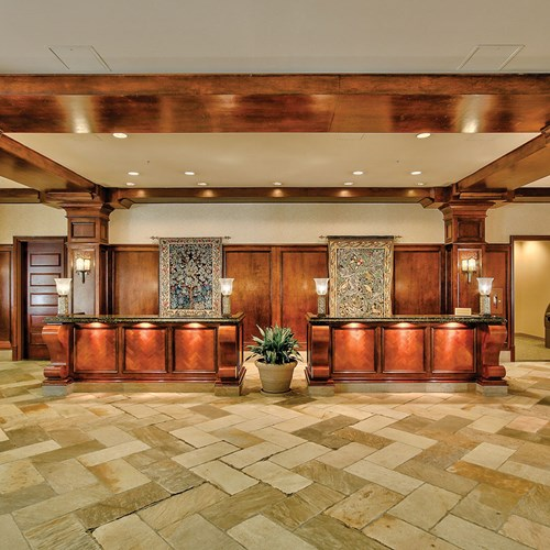 Front desk and reception at Sun Peaks Grand ski accommodation in Canada