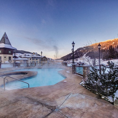 Outdoor pool at Sun Peaks Grand ski accommodation in Canada