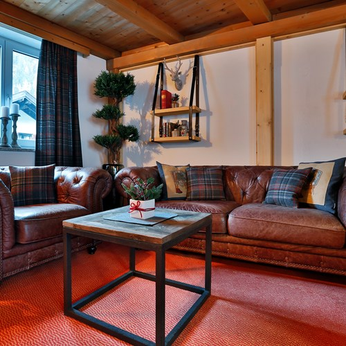 Lounge area at Chalet Amalien Haus, ski accommodation in St Anton, Austria
