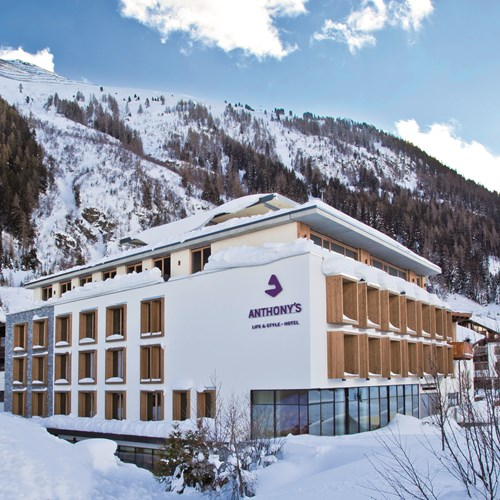 Exterior of Anthony's Hotel, ski accommodation in St Anton, Austria