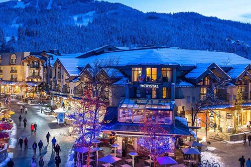 Crystal Lodge, Ski Hotel in Whistler, Canada - exterior at night