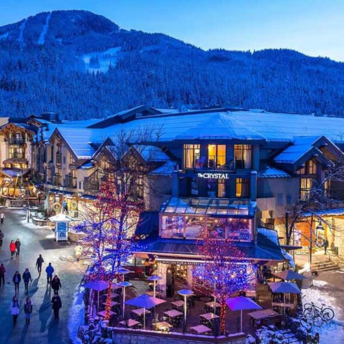 Crystal Lodge, ski accommodation in Whistler. exterior view of hotel & town