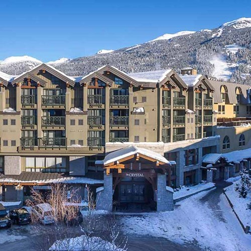 Crystal Lodge, ski accommodation in Whistler. Exterior view of hotel