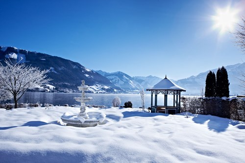 grand hotel zell am see lake view during winter