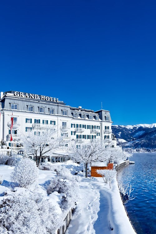 Grand Hotel , ski accommodation in Zell-am-See, Austria. Snowy exterior
