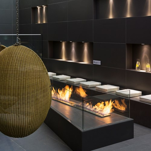 Hotel Heliopic-Chamonix-France-egg chairs around the fire pit by the pool