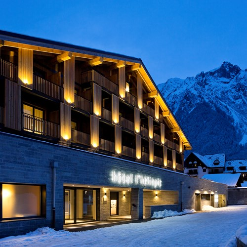 Hotel Heliopic-Chamonix ski resort-hotel exterior lit up at night
