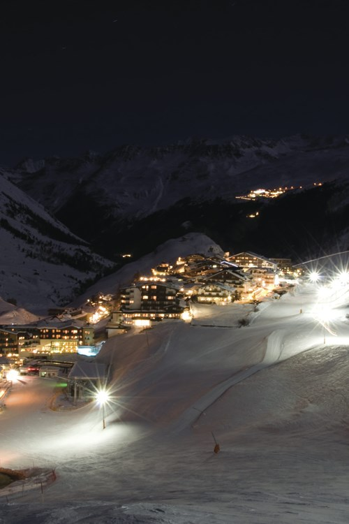 Obergurgl ski weekends Austria night time view of town lights