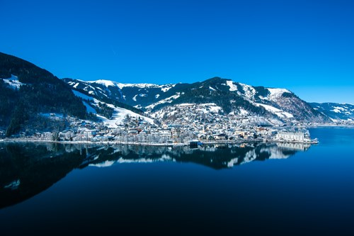 Zell am See ski weekends lake view of town mountain reflections